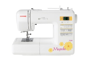 Janome 7330, s7330 schoolmate, Magnolia, 30 Stitch, Computer, Sewing Machine, 6 Buttonholes, START STOP, Memory Needle Up Down, Speed Limit Cont, Threader, 20/5,Yr Ext. Wnty