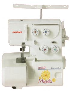 Janome 7034D Magnolia Serger Machine, 3-4 Thread, Differential Feed, Rolled Hem, Color-coded Threading