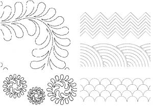 """Quilt-EZ Mid Arm Quilting Design Template, Choose 1 of 13 Designs up to 10x23.75"""""""