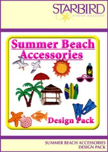 Starbird Embroidery Designs Summer Beach Accessories Design Pack