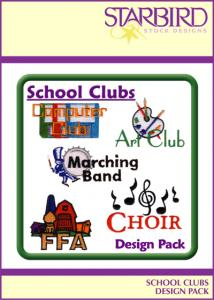 Starbird Embroidery Designs School Clubs Design Pack