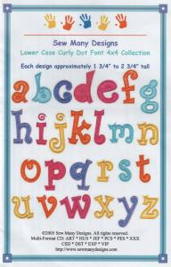Sew Many Designs Lower Case Curly Dot Applique Collection Multi-Formatted CD
