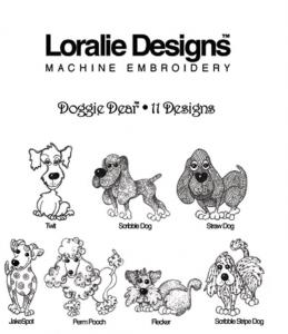 Loralie Designs Doggie Dear Embroidery Designs Multi-Formatted Designs