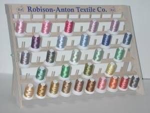 Robison Anton 29 Spools Variegated Machine Embroidery Thread Kit, Assorted Colors, 40wt Polyester, 50 Peg Wooden Stand Up or Wall Mount Rack Stand