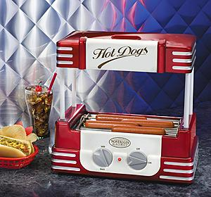 Nostalgia Electrics RHD-800 Red Retro Series Hot Dog Grill Roller & Cooker, 8 Regular Size or 4 of Foot Long Weiners, Bun Storage Warmer in Canopy Top