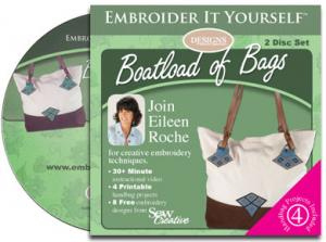 "Embroider It Yourself, Boatload of Bags, CD Video, Bagging It Project, Handbags,: Sanibel, Nantucket, Baja, Catalina, 8 4x4"" Designs, Eileen Roche, 128 Page Book"