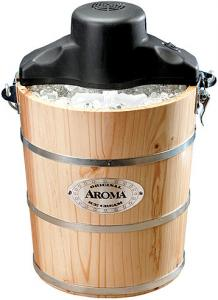 Aroma AIC-204EM 4-Quart Traditional Solid Pine Wooden Bucket Ice Cream Maker Machine, Hand & Electric Crank, Recipe Book, Aluminum Canister to Freeze