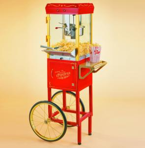 Nostalgia Electrics CCP-510 Circus Cart Popcorn Maker, Full Size 5' Foot Tall, 1.5 Gallon Capacity, Storage Door, Old Fashioned Street Corner Cook
