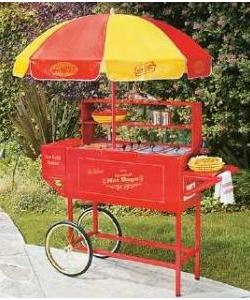 Nostalgia Electrics HDC-701 Carnival Style Hot Dog Hamburger Cart, 9 Roller Cooker, Bun Warm & Steam, Ice Beverage Cooler, Steel, Umbrella PVC Cover