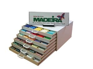 Madeira Polyneon 919349  #40,  349 SOLID Color Assorted 1,100 yard spools, Wooden Spool Chest, Polyester Machine Embroidery Thread - FREE Color Pro SW
