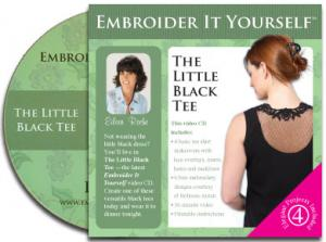 Embroider It Yourself, Little Black Tee 30 Minute CD Video with Eileen Roche, Thread, Printable Book, 8 Lace Designs for 5x7+ Hoop Embroidery Machines
