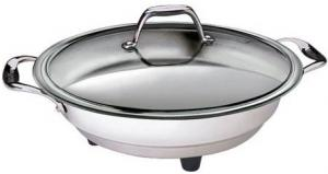 """Cucina Pro, 1453, Classic, Electric Skillet, - 12"""", 1500W, Non Stick, Tempered Glass Cover, Stainless Steel Body, Temperature Probe, Polished Interior"""