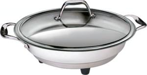 "Cucina Pro 1454, Classic Electric Skillet, 1500W, Glass Lid, 16"" Diameter, Temperature Probe, Polished interior, Stainless Steel, Dishwasher Safe"