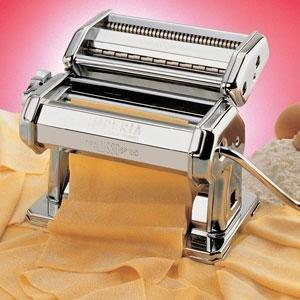 "Cucina Pro 150 Imperia Stainless All Metal Home Pasta Making Machine, 6"" Wide Roller Feed, Double Cutter for Spaghetti, Hand Crank Lever"