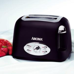 Aroma ATS-272MB 2 Slice Matte Black Toaster, Reheat, defrost, bagel, and cancel functions, Extra wide slots for a variety of bread, Remove crumb tray