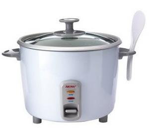 Aroma ARC-730G 10 Dry Cups, Pot Style Rice Cooker Cooks up to 20 Cups, while steaming fish, meat, poultry, vegetables on tray, aluminum with glass lid