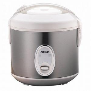 Appliances - Aroma ARC-914SB 4 Cup Cool Touch Stainless Steel Rice Cooker - Brushed Chrome/White Lid