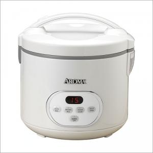 """Aroma ARC-930 10 Cup Digital Programmable Rice Cooker 11x11"""", 4-20 Cups Cooked, Steam Tray, NonStick, Paddle, Ladle, Temp&Moist, ReadyChime, 64PgBook"""