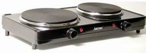 Aroma, AHP-312, Dual, Range, Hot, Plate, Durable, cast, iron, 6.5, inch, 7.5, heating, elements, Professional, steel, body, ON, indicator, light, HML, Temp