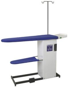 "Sapporo SP711 Heated 500W Ironing Board Table 53""x16""x35""H, 200W Vacuum Motor, Garment and Iron Rest Trays, Hose and Cord Minder for Your Iron, 75Lbs"