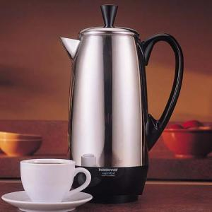 Farberware FCP412, 4 to 12 Cup Stainless Steel Coffee Maker Percolator Pot, One Cup Per Minute, 1000W, Cool Handle & Cover Knob, Detachable Power Cord