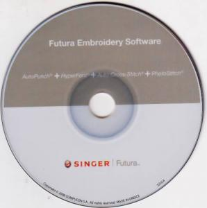 Singer CE150 Futura Embroidery Software Bundle: AutoPunch, HyperFont, PhotoStitch, and CrossStitch on CD