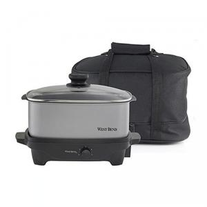 West Bend 84915 5 Quart Slow Cooker, Porcelain & Brushed Silver Exterior, Non Stick Interior, Plastic Lit with Tote Bag, keep food warm for two hours