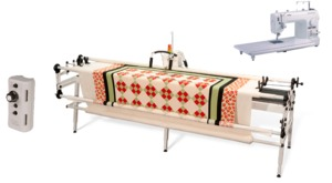 "Brother PQ1500S Sewing Machine, Grace Majestic 60"" Queen to 120"" King Size Quilting Frame, 4BungeeClamps, LaserStylus, 100Needles, 100Bobbins 6Threads"