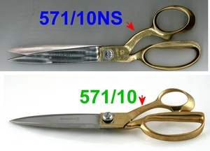 "Belmont, 571-10, Commercial, Fabric, Cloth, 10"", Shear, Scissor, Trimmer, Nickel, Plate, Blade, Cutlery, Steel, Contoured, Brass, Handle"