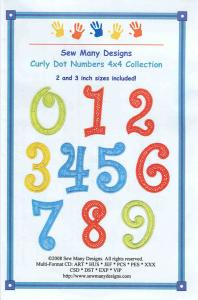 Sew Many Designs Curly Dot Numbers Applique Collection Multi-Formatted CD