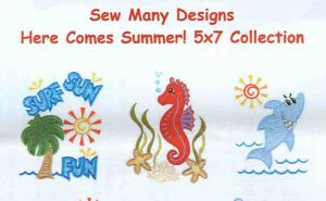 Sew Many Designs Here Comes Summer Applique Collection Multi-Formatted CD