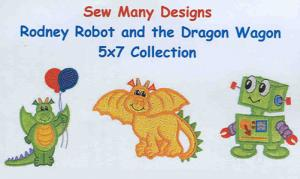 Sew Many Designs Rodney Robot And The Dragon Wagon Applique Collection Multi-Formatted CD