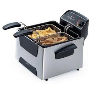 Presto 05466 Stainless Steel Dual Basket ProFry Deep Fryer, 1800W, Cover, Filter, Adj. Thermostat, Ready Light, Family Size 12 Cup Food Capacitynohtin