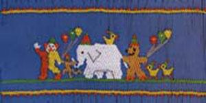 Ellen McCarn Annie's Circus Parade Smocking Plate Clown Elephant Duck Balloon