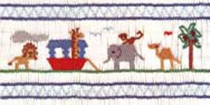 Ellen McCarn Ark Smocking Plate Boat, Animals, Tree, Elephant, Lion
