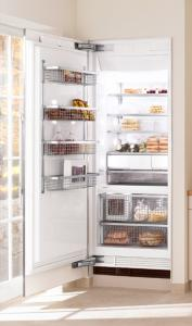"Miele F1801SF Freezer, 30"", Prefinished Fully-Integrated Stainless Steel, Right Hinge, Built-In Ice Dispenser"
