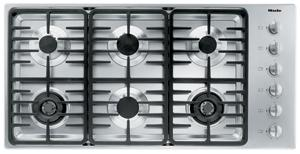 "Miele KM3485G Gas Cooktop, 42"", 6 Burners, Stainless Steel, Linear Grates"