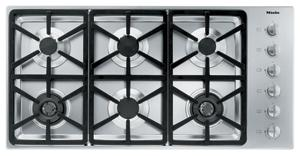 Miele KM3484LP Propane Cooktop, 42�?, 6 Burners, Stainless Steel, Hexa Grates