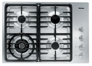 "Miele KM3465G Gas Cooktop, 30"", 4 Burners, Stainless Steel, Linear Grates"