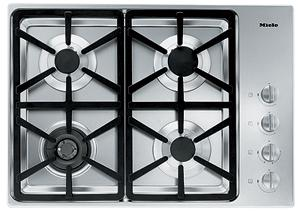 "Miele KM3464G Gas Cooktop, 30"", 4 Burners, Stainless Steel, Hexa Grates"