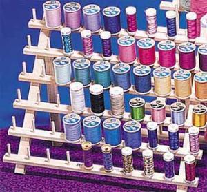 June Tailor #JT 672 Mini Mega Rak II 60 Spool Embroidery Thread Wood Rack