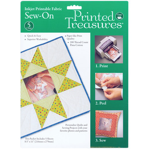 "5/PKG 8X11-FABRIC SHEETS SEW-IN, Milliken Treasures PT-150 Printable Fabric Transfers, 50-8.5x11"" Sheets"