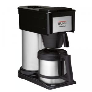 BUNN,  BTX-B,  ThermoFresh, 10 Cup, 3 Minute, Home, Thermal, Carafe, Coffee, Brewer, Maker, black, with stainless steel tank, holds the brew water, up to 200˚F