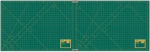 "Olfa RM CLIPS/2 23"" x 70"" 2 Piece Continuous Grid Rotary Mat Set in Green"