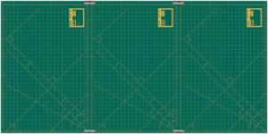 "Olfa RM CLIPS/3, a 35"" x 70"" 3-Mat Rotary Cutting Mats Set in Green Color & Yellow Grid"