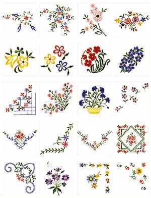 Pfaff No. 28 Scattered Flowers Embroidery Card