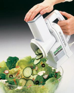 Presto 02970 Pro Salad Shooter & Electric Food Slicer Shredder, Just Point & Shoot vegetables fruits cheese nuts, for great salads soups pizzas tacos