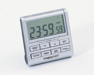 Presto 04212 Home Kitchen Electronic Clock, Timer (3 Settings up to 24 Hours), Stopwatch, Calendar, Tone Signals, Clip On, Easel Stand, & Magnet Back