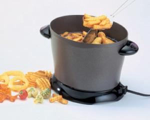 "Presto 05450 Dual Daddy Electric Deep Fryer 1500W, Serve 8, Divider, Non-Stick Aluminum Casting, Snap On Lid, Slotted Scoop, 8.25""H x 7.25´W x 13""Lnohtin"