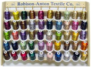 Robison Anton WHITE CARD OPTIMIZED 49 Spools x 1100 YDS Rayon Machine Embroidery Thread & Wood Rack